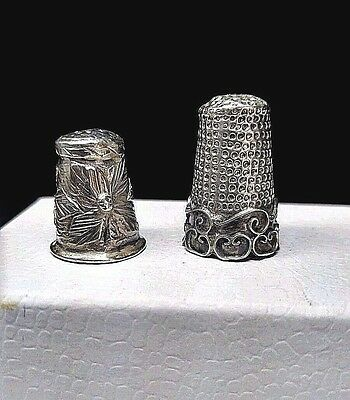 Lot of 2 1940'S Vintage MEXICAN STERLING SILVER THIMBLE RELIEF DESIGN SCROLLWORK