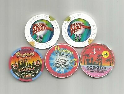 Aladdin CASINO, Las Vegas, NV - OBSOLETE CASINO CHIPS - lot of 5