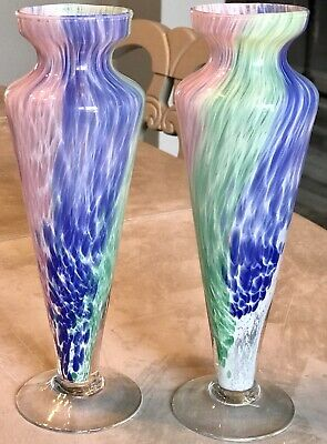 2 Vintage HAND BLOWN Murano Style Pulled Glass Spatter Confetti ART GLASS VASE
