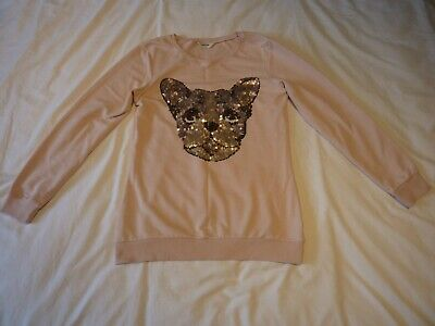TAMMY girl's pale PINK jumper CAT in SEQUINS Height 176cm USED GOOD CONDITION