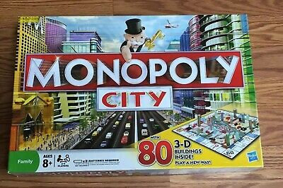 MONOPOLY CITY BOARD Game By Hasbro With 80 3-D Buildings