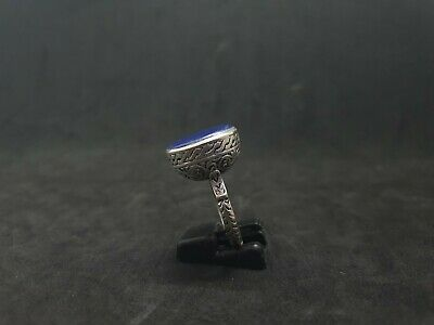 Beautiful Silver Plated Old Ring With Beautiful Color Lapis Lazuli Stone  #J65