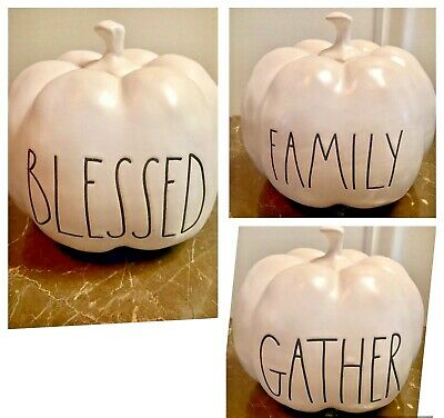 Rae Dunn LL FAMILY BLESSED GATHER WHITE PUMPKINS YOU CHOOSE - NEW 2019