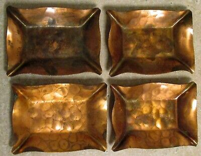 "4 Arts & Crafts Identical Small Vintage Hammered Copper Ashtray 2 1/2"" x 3 1/2"""
