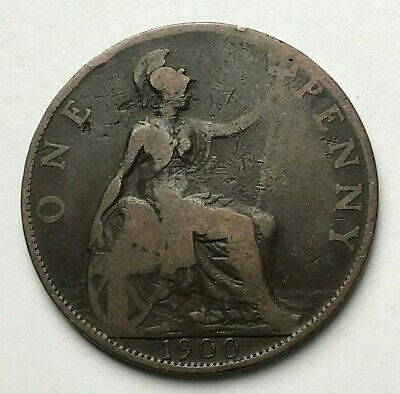 Dated : 1900 - One Penny - 1d Coin - Queen Victoria - Great Britain