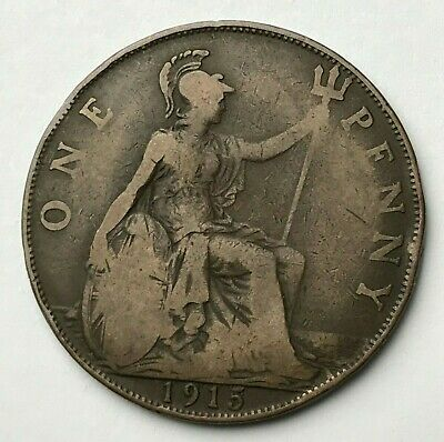 Dated : 1915 - One Penny - 1d Coin - King George V - Great Britain