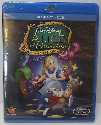 Alice in Wonderland 60th Anniversary Edition Blu-ray / DVD 2-Disc set NEW Disney