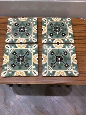 "Vintage , Antique Ceramic Tiles X 4 , 6 "" Square , Thick"