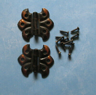 Vintage butterfly flush hinges copper flashed 1 pair cupboard Hoosier lt doors