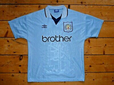 Manchester City football shirt BROTHER UMBRO Home Soccer jersey oasis size Large