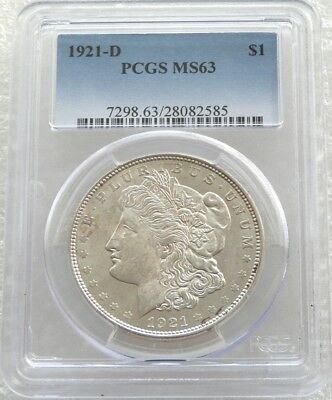 1921-D United States Morgan $1 One Dollar Silver Coin PCGS MS63 Denver