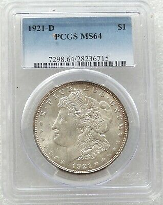 1921-D United States Morgan $1 One Dollar Silver Coin PCGS MS64 Denver