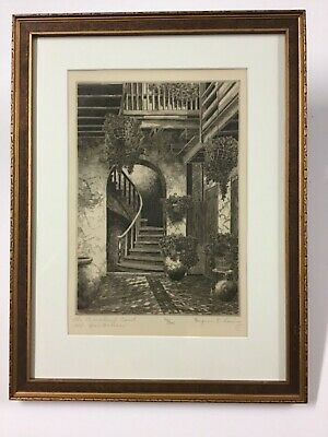 """Eugene E. Loving Etching """"The Marchand Court, Old New Orleans"""" Great Frame"""