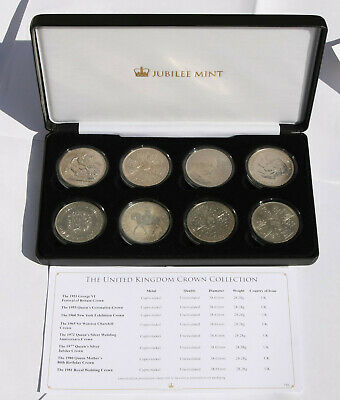 THE UNITED KINGDOM 8 x CROWN coin COLLECTION uncirculated in capsules  RRP £145