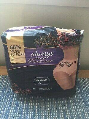Always Discreet Boutique Max XL/TG Incontinence Qty 15 pack Underwear. New