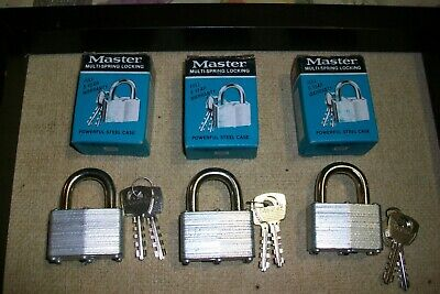 Vintage Master Lock Nos No.500 Padlocks & Keys.
