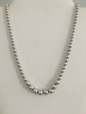 """Sterling Silver Round Graduated Beaded Necklace Italy Signed M 17.5"""""""