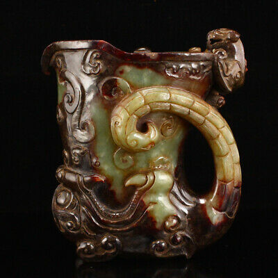 "4"" China old 100% Natural handcarved hetian jade ruyi beast statue cup"