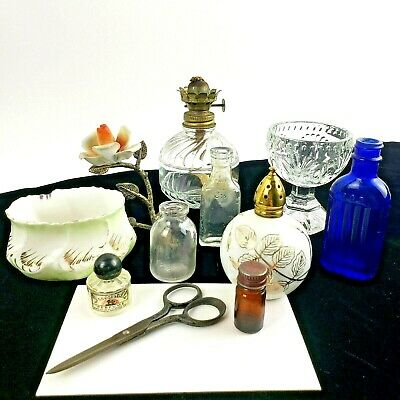 Mixed Vintage Misc Lot Collectible Trinkets Knick-knacks Apothecary blue Crystal