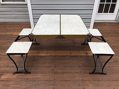 Terrific Vintage Handy Folding Picnic Table And Chair Set Metal Onthecornerstone Fun Painted Chair Ideas Images Onthecornerstoneorg