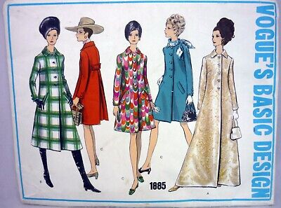 Vogue Coat Pattern 1885 Mod Evening, Day Lengths Size 14 Uncut Vintage 1960's