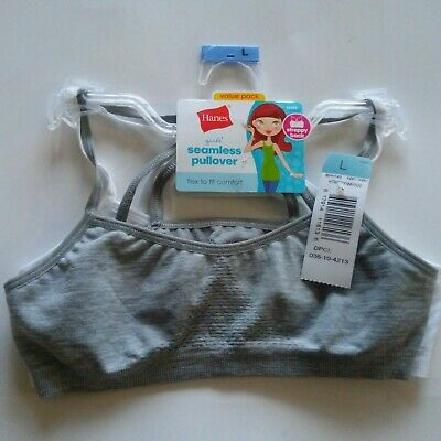 2-Pack Girls Hanes Training Bras Pullover Crop Top Strappy Back Gray White Sz L