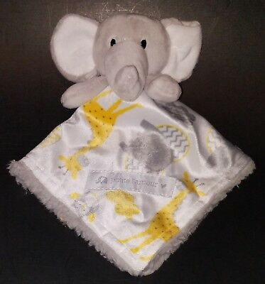 Petite L'amour Gray Elephant Lovey Security Blanket Plush Yellow Giraffe Owl