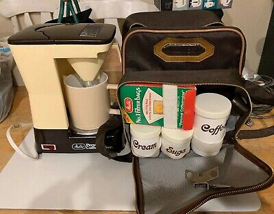 Vintage Melitta Personal Portable Coffee Maker Travel Kit with Case-Strap,mug A