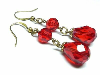 Vintage sparkly art deco red glass bead earrings to match 1930s necklaces