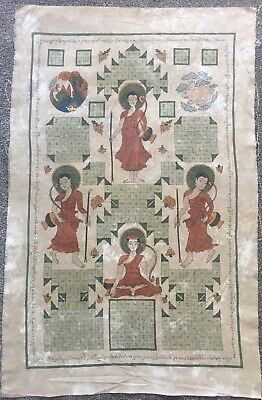 Large Antique Buddhist Temple Painting On Cloth Of Buddha. Northern Burmese Art