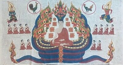 Huge Antique Buddhist Temple Painting Of Naga Protecting Buddha, Northern Burma