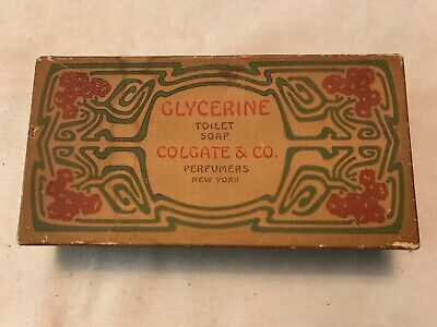 Colgate Co. Perfumers Glycerine Toilet Soap Vintage Full Box Of 3 Soaps