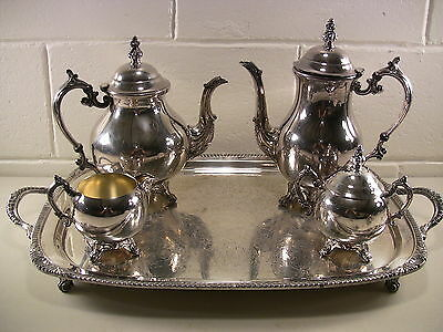 Vintage Silverplate Tea Set Coffee Pot Serving Tray Teapot Creamer Sugar Bowl