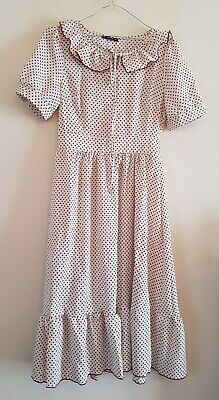 Ref 252 - SHEIN - Ladies Womens Girls Cream & Red Spotted Dress Size Small