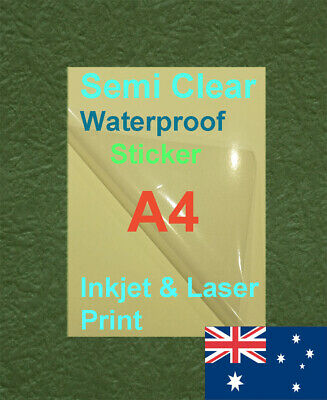 15XA4 Semi Clear Label Self Adhesive Sticker Inkjet Print Paper ( transparence )