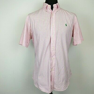 POLO RALPH LAUREN Mens Casual Shirt Short Sleeve LARGE Custom Fit Pink Striped