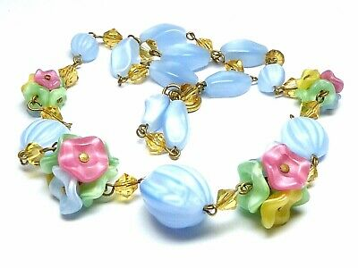 Vintage Art Deco 1930s blue Czech pastel satin glass flower necklace