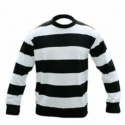 CHILDREN UNISEX LONG SLEEVE BLACK & WHITE STRIPE KNITTED JUMPER AGE 7-12 Years