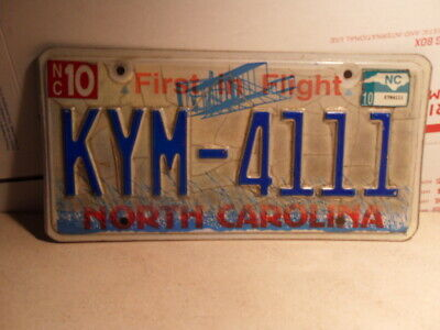 2010 North Carolina Nc License Plate Kym-4111 Original Stamped First In Flight