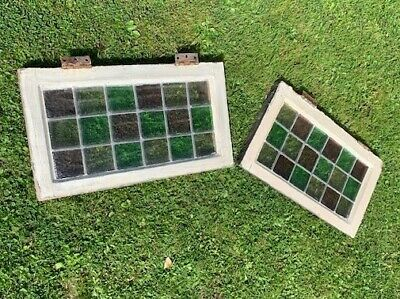 2 Georgian stained glass windows in original wooden window frame 33.57.5.5
