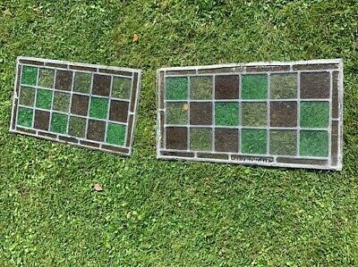 2 Reclaimed Vintage Stained Glass Window Panels