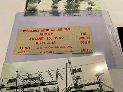 Woodstock 1969 $7.00 Mail Order Extremely Low Ticket Number A00115 Jimi Hendrix
