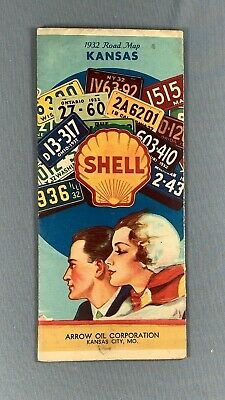 Vintage 1932 Shell Oil Gas Road Map Kansas