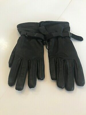 Womens Black Leather Gloves Sz Small