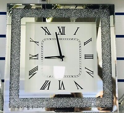 Large Mirrored Silver Crushed Crystal Wall Clock, Diamante, Bling