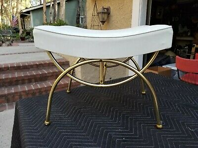 Peachy 1960S Brass Gold Vanity Stool Bench Seat Hollywood Regency Onthecornerstone Fun Painted Chair Ideas Images Onthecornerstoneorg