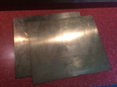 """2x Brass Sheets Plates .032"""" 20 gauge 12"""" x 10-1/4"""" 19 ga? 40 year old US Stock!"""