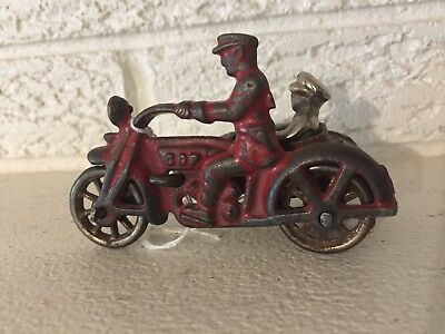 Antique HUBLEY 1930s CAST IRON COP MOTORCYCLE WITH SIDE CAR + Passenger
