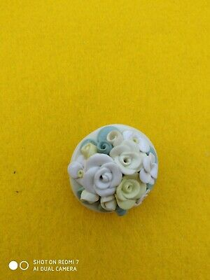 Small Round Porcelain Floral Brooch. White, Yellow, Green.