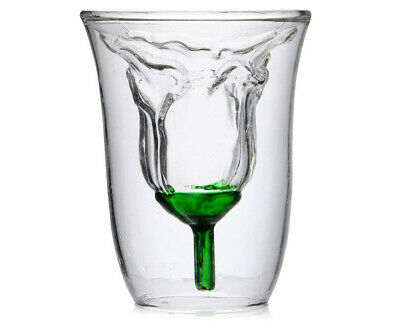 Roes Shaped Double Layer High Borosilicate Drinking Plastic Transparent 180 ML
